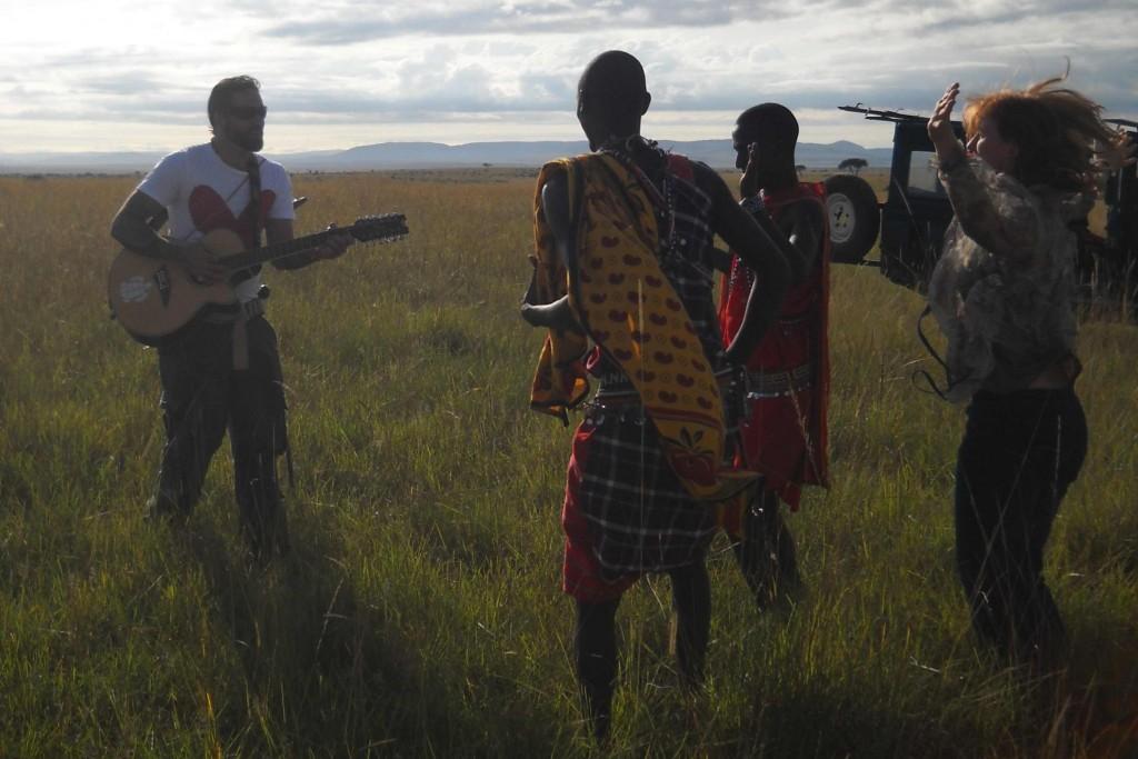 Keith, Rachael, Kamnen, Luka dancing in the Mara (VisionForce Africa 2010)